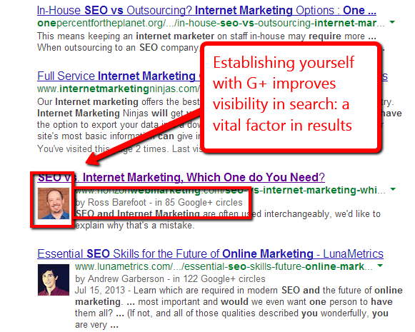 example of search snippet showing Google+ authorship markup