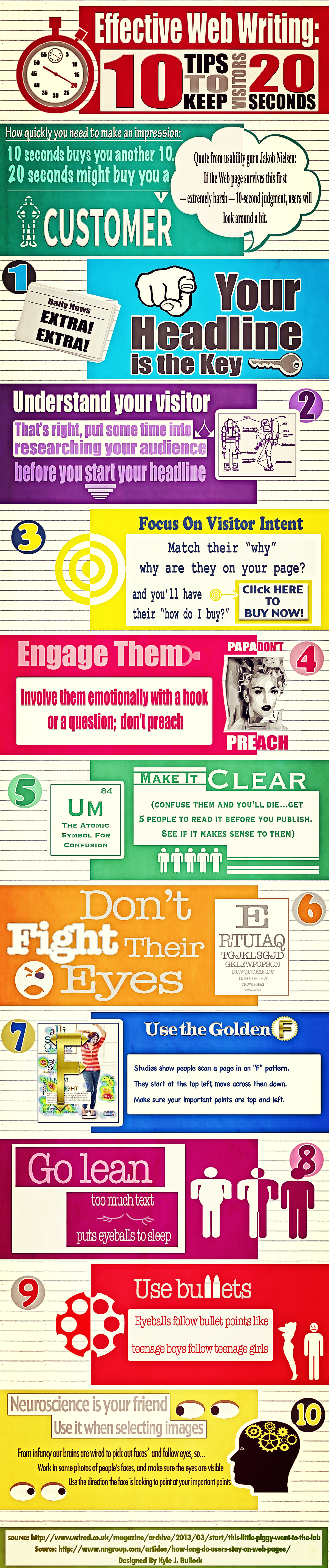 Info graphic, tips for writing engaging web content