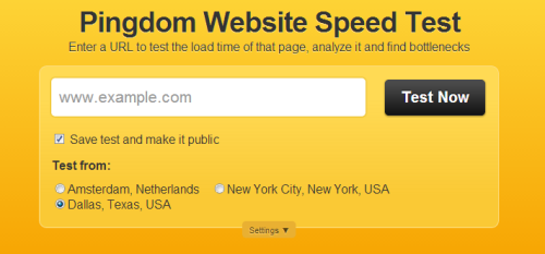 screen capture of pingdom to show how to check the load time of your web page