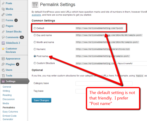screen capture showing search engine friendly settings in WordPress Permalinks