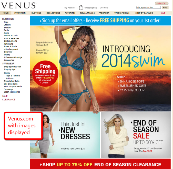 screen capture of venus.com to show display with images on