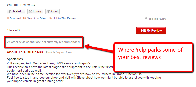 screen capture of Yelp's other reviews button