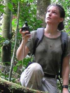 Primatologist Amandine Renaud in the Congo