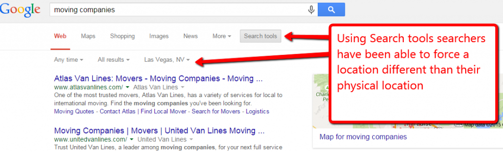 screen shot example of using search tools for location override