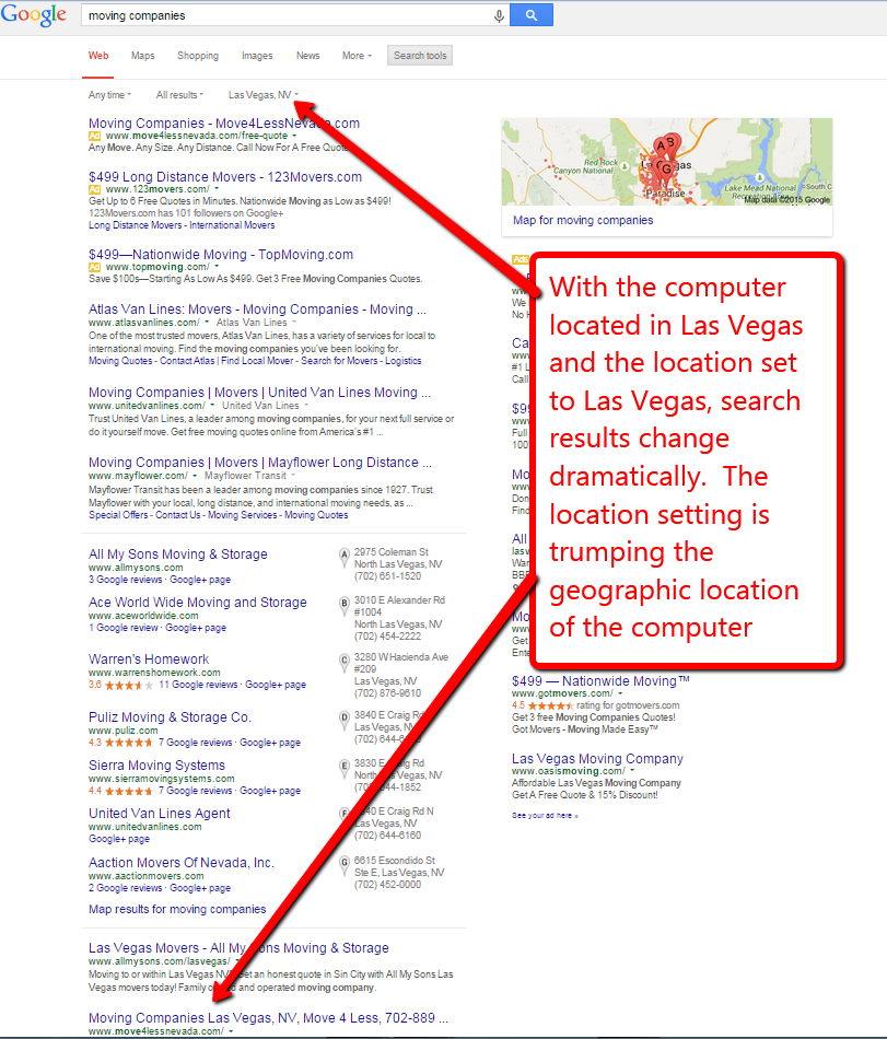 screen capture showing Google search with location hard coded