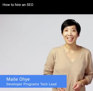 picture of Maile Ohye of Google discussing ways to make sure you hire a good seo