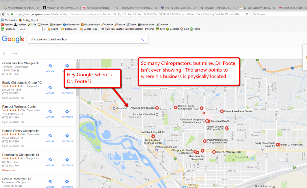 screen capture of local seo case study applied chiropractic