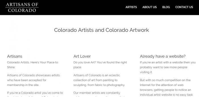 Home page screen capture of artisansofcolorado.com, a website for colorado art and artists