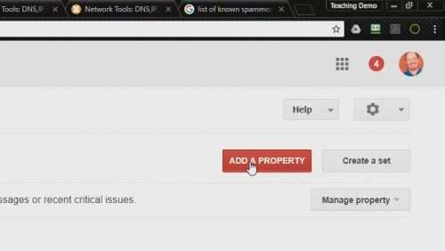 screenshot of Add a Property button in Search Console