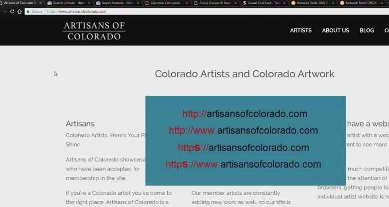 Screen capture of the various versions of artisansofcolorado.com that can appear in Google Search Console