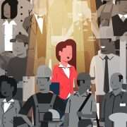 Drawing of woman standing out in a crowd