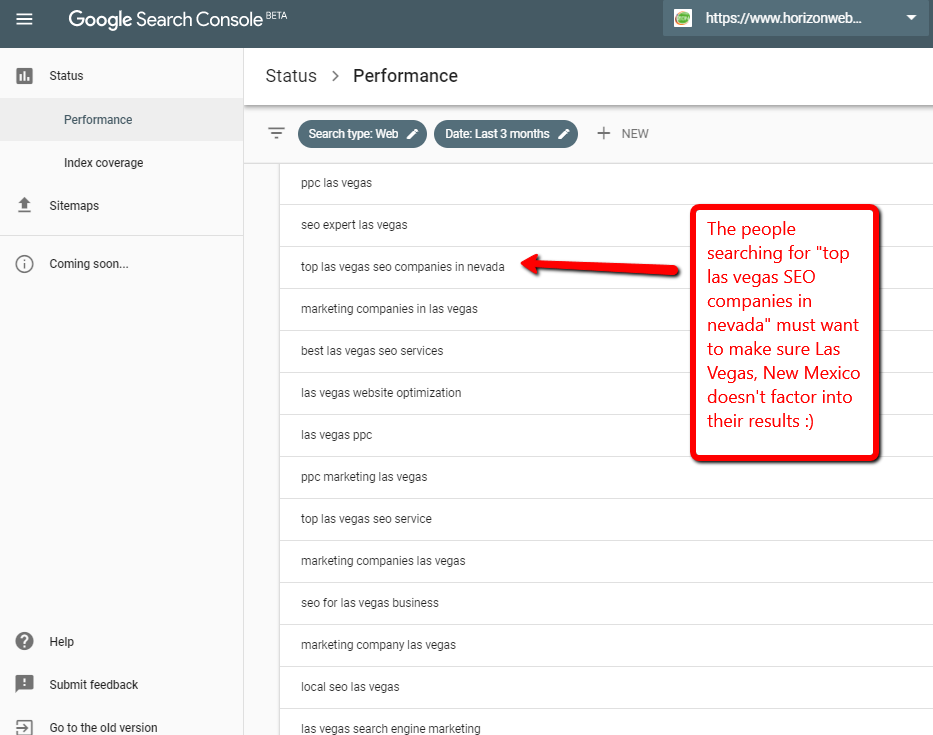 Screen capture of Google Search Console Performance Report