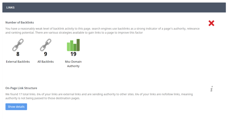 Screen capture of seoptimer analysis of backlink structure