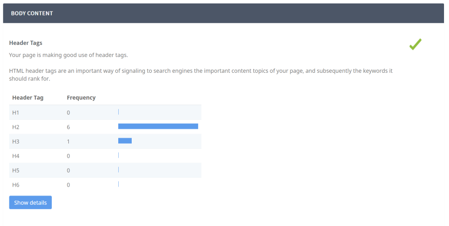 screen capture of seoptimer header tags review