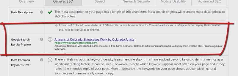 screenshot of seo site checkup, SERP snippet preview