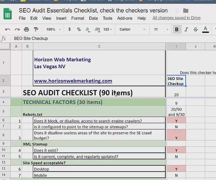 screenshot of seo site checkup and our seo audit checklist