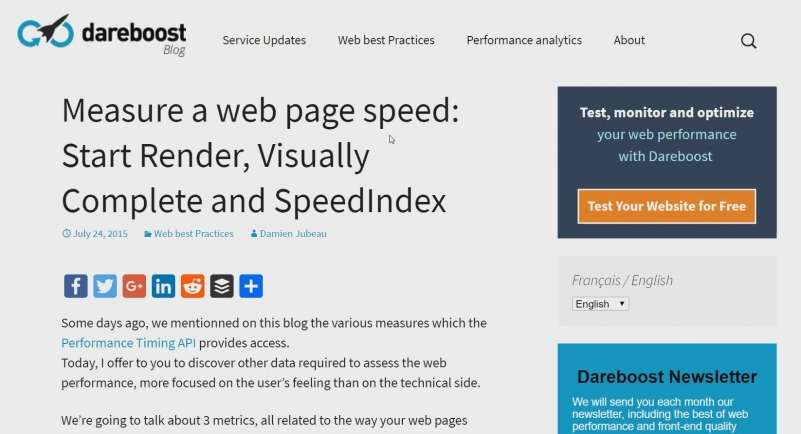 screen capture of a technical SEO blogpost on the dareboost site