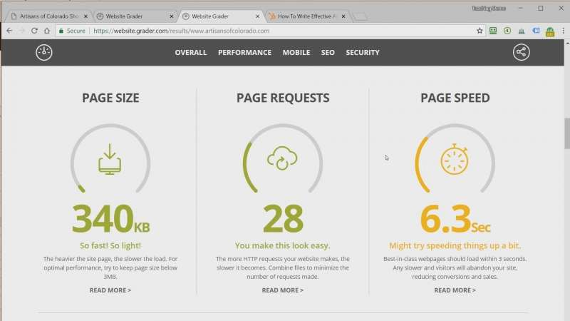 Screen capture of speed results from the website grader test