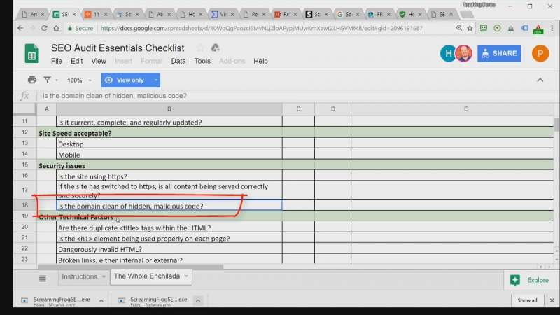 detail image of seo audit checklist with the security issues highlighted