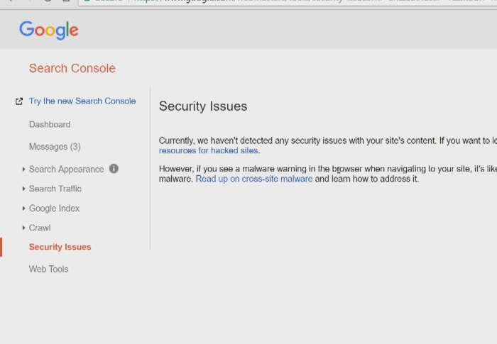 The security issues screen in Google Search Console
