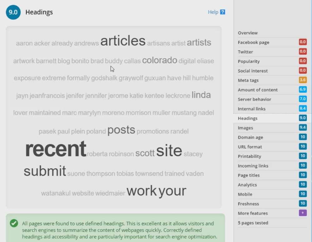 screen shot of the keyword cloud for heading elements for SEO analysis