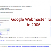 Screen capture of Google Webmaster Tools, 2006