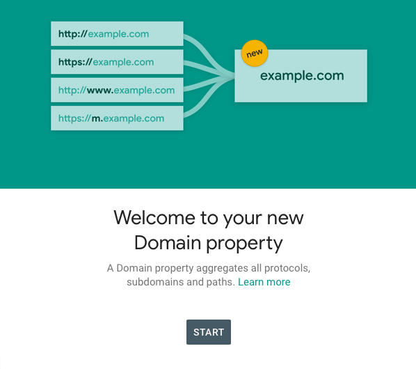 Image of the pop-up screen when you've verified a domain property type in search console