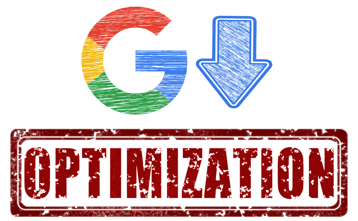 logo of google pointing at word optimization for seo article