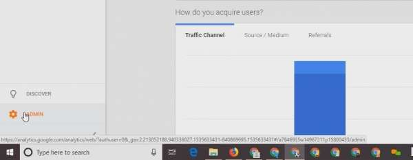 screen capture of google analytics
