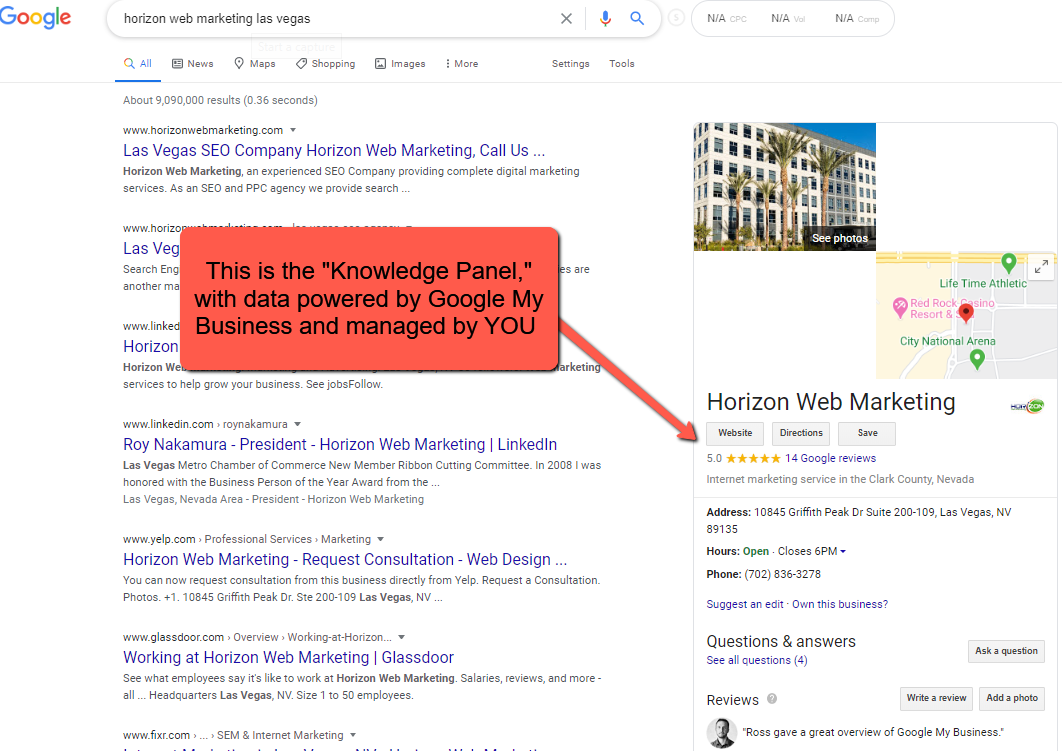 image of knowledge panel with indicator for Google My Business