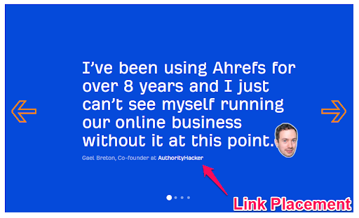 Gael Breton quote and example of link placement