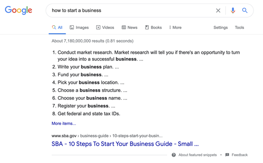 Example of featured snippets in search results